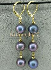 New 9-10MM AAA Peacock blue south sea pearl Earring 14K fashion dangle earring