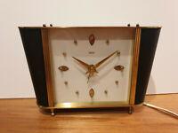 "Vintage Mid-Century ""Smiths"" Electric Brass Desk/Bedside Alarm Clock (Retro Art)"