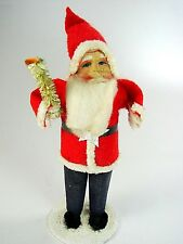 Antique Classic Tall Red/Blue Santa w Celluloid Face - Japan -1930-40s - Great!