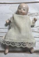 ANTIQUE TINY BISQUE BABY Doll Cloth Torso Hand Painted Dress Lace Trim Vintage