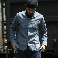 Bronson Chambray Selvage Shirts Lightweight Engineer Workshirts For Men Blue