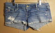 Womens Hollister Stretch Destroyed Jean Shorts Size 3 W26 Cuffed