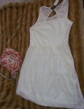 FOREVER 21 Juniors Cream Lace Dress Sleeveless Spring Ivory Eggshell  Sz  L