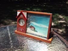 Budweiser Busch Bavarian Beer Clock Sign Wooden Lighted Vintage 1959