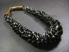 N4681 Handmade Gypsy Tribal Horn Black White Beads Chunky Fashion NECKLACE