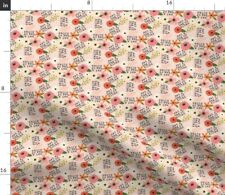 New listing Small Scale Swear Words Flowers Rose Funny Peony Spoonflower Fabric by the Yard