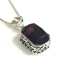 """Vintage Red Ruby Pendant Necklace 18"""" Chain 14k White Gold Women Jewelry Gift"""