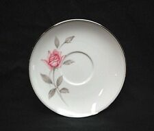 "Vtg. Rosemarie by Noritake Fine China 5-7/8"" Saucer Plate White Pink Roses Japan"