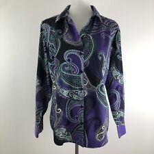 Chicos Womens Button Down Shirt No Iron Purple Paisley Stretch Work sz 2, Large