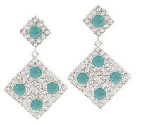 Luxe Rachel Zoe Pave' Crystals Light Blue Cabochon Drop Earrings Silvertone Qvc