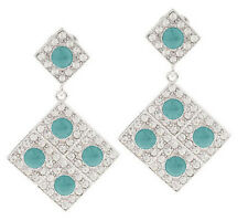 Luxe Rachel Zoe Pave' Crystals Light Blue Cabochon Drop Earrings Silvertone Qvc
