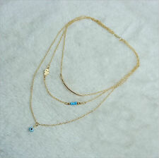 Charm Pendant Chain Gold Hand Blue Eye Bead Turquoise Choker Chunky Necklaces