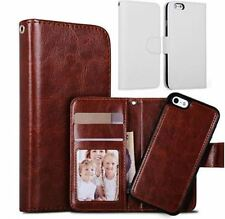 Apple Iphone 5s leather wallet case in White. detachable magnetic phone holder