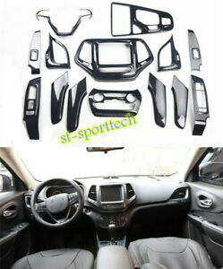 Carbon fiber style interior fittings cover trim 14X For 2014-2018 Jeep Cherokee