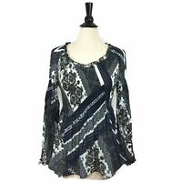 Sharagano Womens Top Long Sleeve Blue V-Neck Printed Juliette Blouse Size Medium