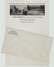 RARE -1939 Advertising Letterhead w Graphics - Camp Brosius  Elkhart Lake WI