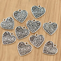 10x Heart Shape MOM Leaves Pendant Bead Silver Charm for Necklace Jewelry Making