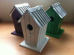 Coloured Bird House Beech Hut Nesting Box Steel Roof Hanging Loop Great Value!