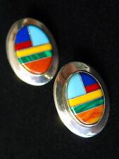 Handmade Ella Peter Native Usa Colorful Multi Stone Inlaid Earrings Silver