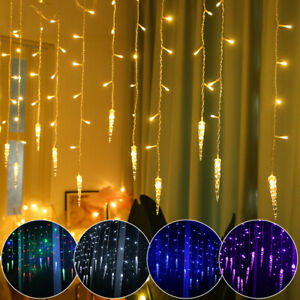 UK LED Icicle Curtain Window Fairy Lights Christmas String Light Xmas Party Home