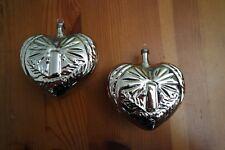 2 Herzen mit Kerze Silber Christbaumschmuck Weihnachtskugel,Mundgeblasen Lauscha