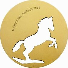 Mongolia 2014 Nature Horse 500 Tugrik Gold Plated Silver Coin,Proof