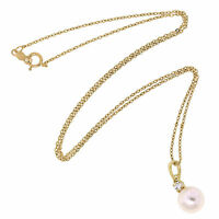 Mikimoto 18K Yellow Gold Diamond White Akoya AAA Pearl Chain Pendant/Necklace
