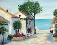 Tuscany Painting Original Art Seascape Canvas Art 16 by 20 in