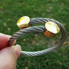 Rustic Cuff Vintage Hazel Silver & Gold Circle Coil Bracelet Not Engraved