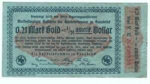Osnabrück - Inflation 1923 - wertbeständiger Gutschein über 0,21 Mark Gold