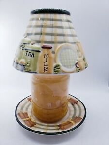 Yankee Candle Shade Topper & Plate Kitchen Flour Coffee CANDLE NOT INCLUDED