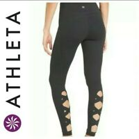 ATHLETA HI RISE CHATURANGA CRISS CROSS BLACK LEGGING WOMEN'S MEDIUM SIDE POCKETS
