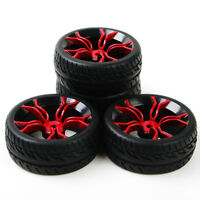 4PCS 1:10 flat tyres Tires&12mm Hex Wheels For HSP HPI RC On Road Model Car run