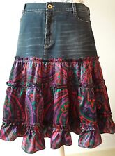 vintage Dolce & Gabbana skirt gonna hippie boho chic denim silk floral ruffled