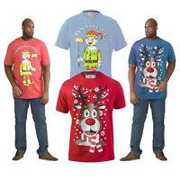 Duke D555 Mens Rudy OR Elfie Novelty Light Up Jingle Bells Christmas T Shirt