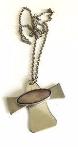 Vintage 1970s Stainless Steel Modernist Abalone Cross Pendant