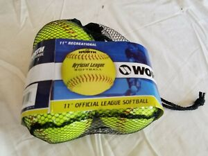 """3 Worth 11"""" Recreational Yellow Official League Softballs New in Package"""