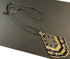 1 Black & Gold Glass Beaded Pendant Dangle Boho Tassel Cord Necklace # 573