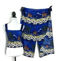 Women's Crop Top/Pants 2PC Set Cruise Ressort Hawaiian Outfit Floral Vacation