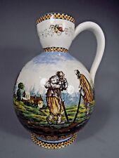 European Dutch ? Figural Polychrome Decorated Majolica Pitcher ca. 19-20th c.