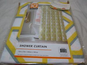 NEW ID Intelligent Design MACI Fabric Shower Curtain 72x72 ~ Yellow, Grey, White