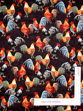 Rooster Farm Bird Black Cotton Fabric Windham 41212-2 Country Kitchen - Yard