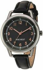 Nine West Easy-To-Read 38mm Black Dial Leather Women's Watch NW/1699GNBK SD