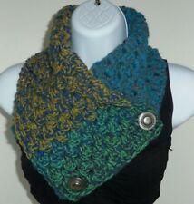 Blue Green Gold 29in hand Crochet acrylic yarn button neck warmer scarf ESN6