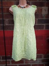 Ladies Lace Tunic sleeveless Vest Summer Holiday Top 16 18 green lined