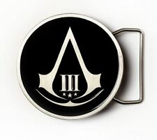 ASSASSIN'S CREED III 3 CONNOR BUCKLE FIBBIA BELT CINTA COSPLAY BLACK FLAG EZIO