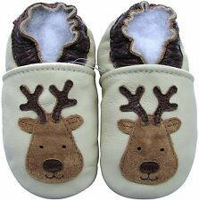 carozoo reindeer cream 18-24m soft  sole leather baby shoes