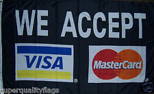 NEW 3x5 ft BLACK VISA MASTER CARD BUSINESS BANNER FLAG WITH BRASS GOMMETS