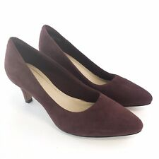 Clarks Size UK5.5 D Ladies Burgundy Leather Suede Slip On Court Mid Heels Shoes