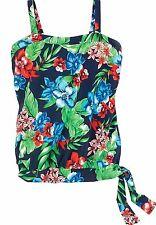 BRAND NWT Swim 365 Navy Tropical Floral Blouson Side-Tie SWIM TOP Plus Size 14W